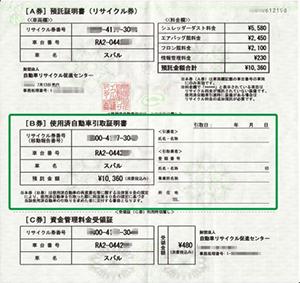リサイクル券軽自動車イメージ画像