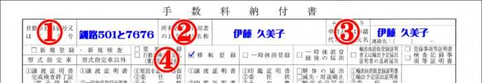 手数料納付書記載例・自動車登録番号・所有者氏名・申請者氏名1