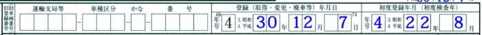 旧登録番号・登録(取得・変更・廃車等)年月日・初度登録年月(初度検査年)記載例1