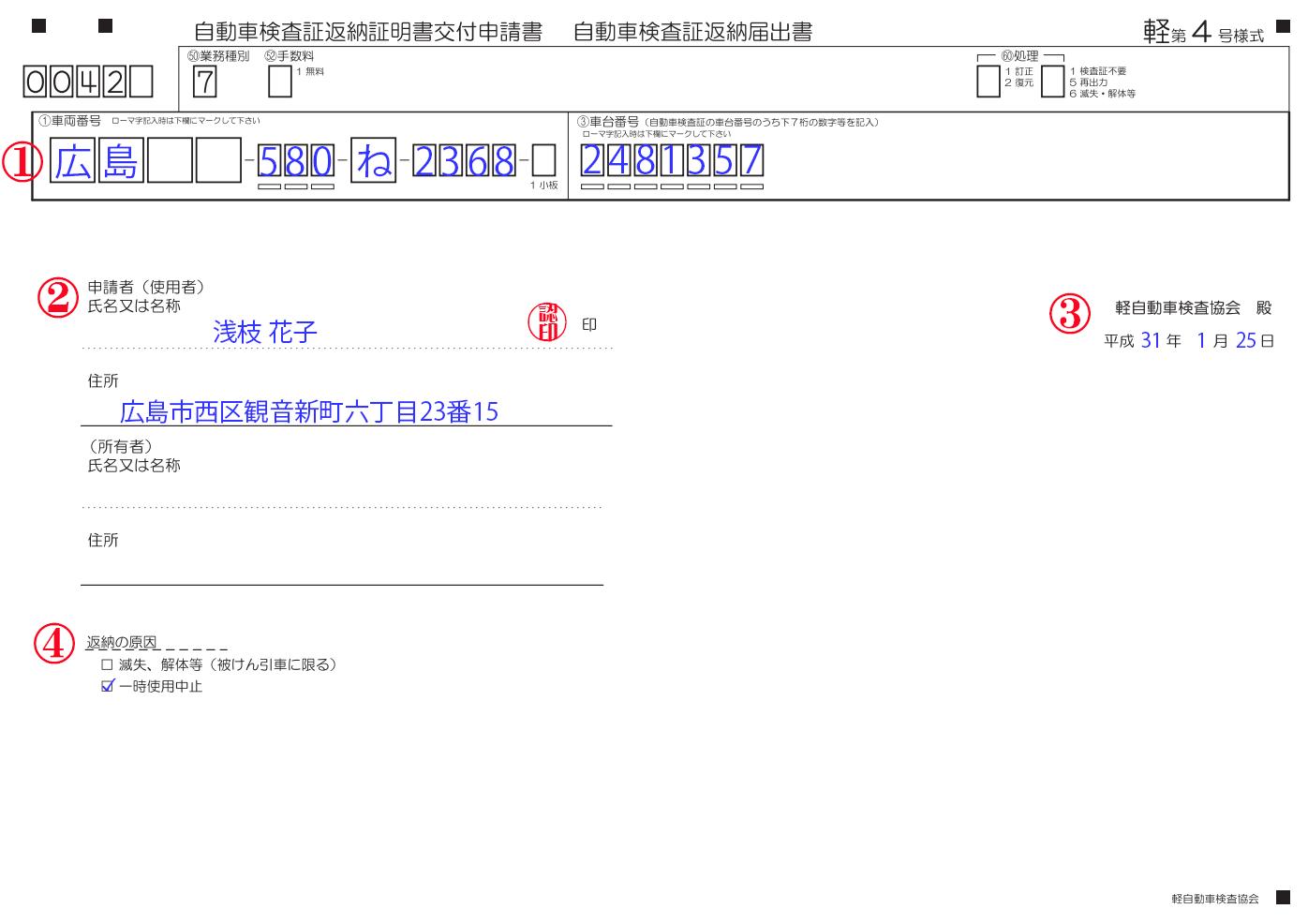 自動車検査証返納届申請書記載例