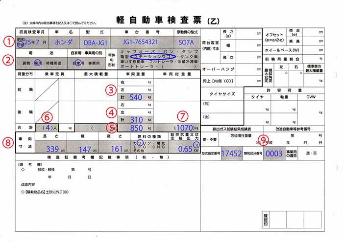 軽自動車検査票乙記載例