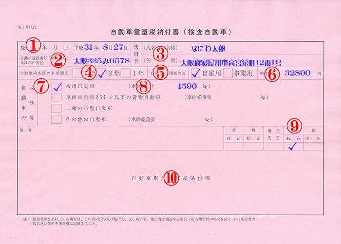 自動車重量税納付書(検査自動車)記入例