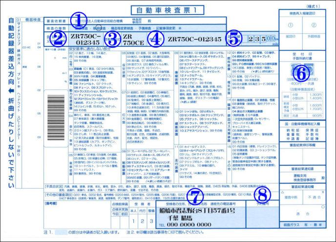 自動車検査票1記載例