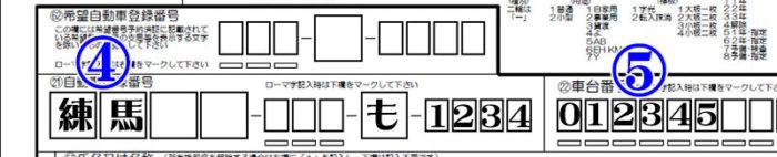 自動車登録番号・車台番号記載例