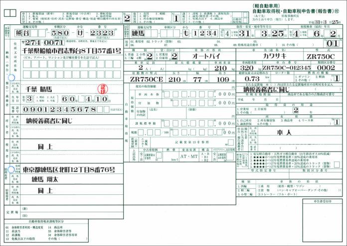 自動車税申告書二輪車記載例