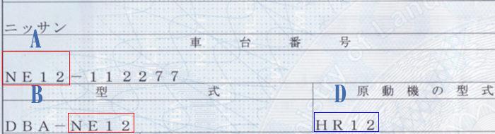 車検証(車名・車台番号・型式・原動機の型式)