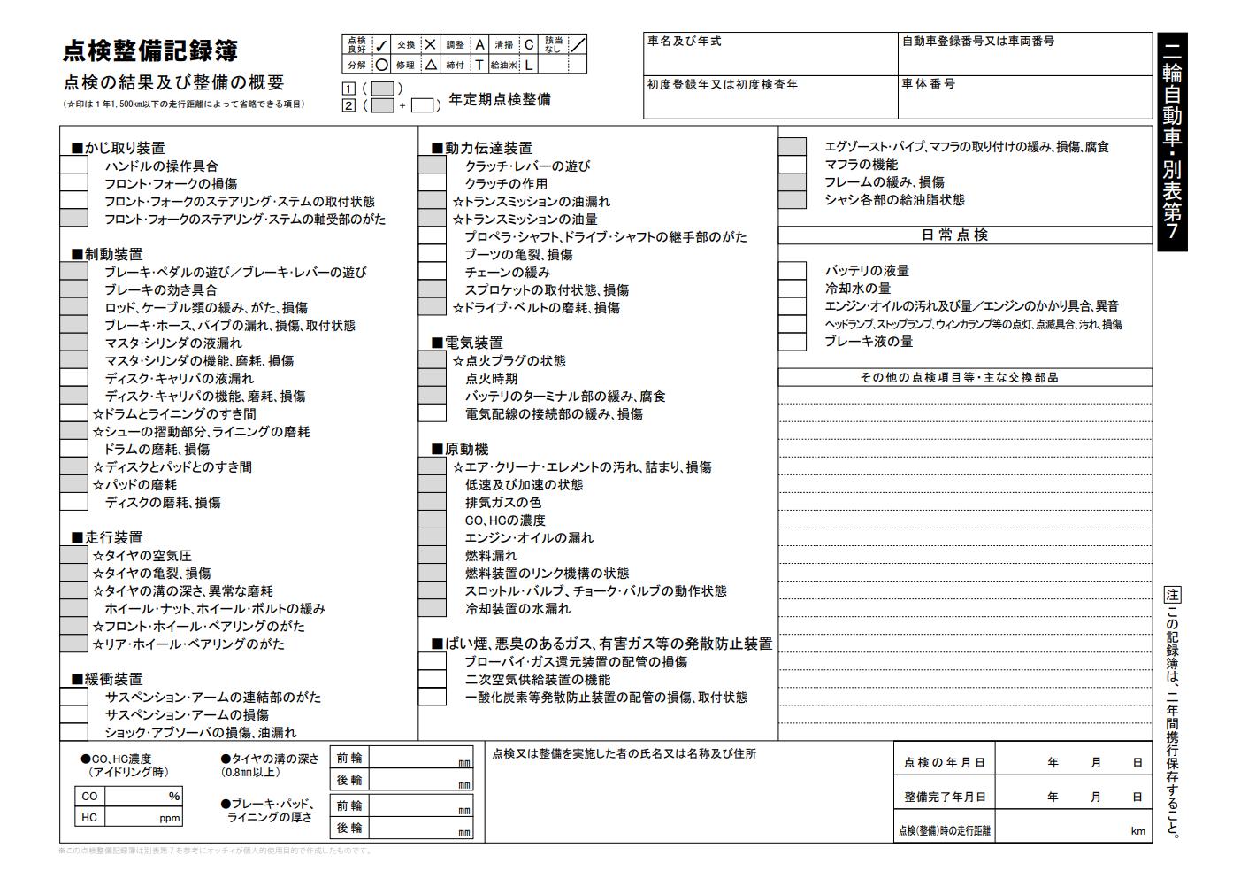 点検 整備 記録 簿 別表 3 ダウンロード