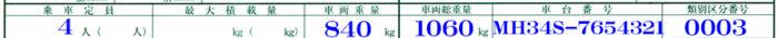 乗車定員・車両重量・車両総重量・車台番号・類別区分番号記載例
