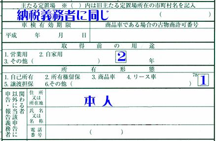 主たる定位場・所得前の用途・所有者形態・申請人記載例