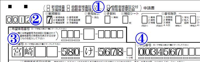 所有者変更記録・業務種別・車両番号・車台番号記載例